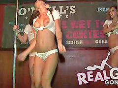 On stage, Drunk college girl, Contest, Wet shirt, Drunken girls, T shirt