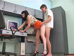 Legging, Secretaris sexi, Secretary sexy, Sexy secretary, Sexy leg, Sexy creampie
