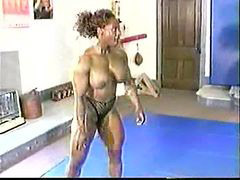 Wrestling, Wrestling mixed, Female bodybuilder, Female, Bodybuilding, Mixed wrestling