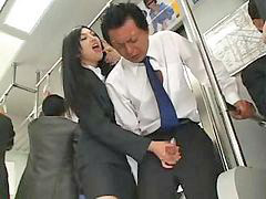 Asian, Handjob, Bus