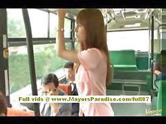 Bus, Asian teen, Hairy teen, Asian pussy, On air, Teen hairy