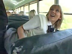 Bus, School girl, Girls blondes, Asian guy, Asian school girl, Asian school