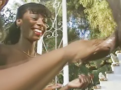 Shaking, Ebony black, Threesome outdoor, Outdoor handjob, Tits jerk, Ebony big tits
