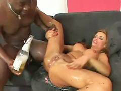 Interracial, Fisting, Swallow, Squirt, Fist, Interracial squirting