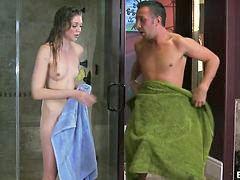 Teen, Shower, Stepdad, Daughter, Shower,, Shower daughter