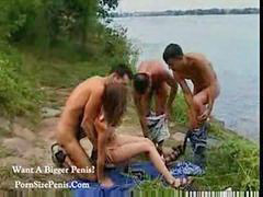 Teen sex, Group, Russian teen, Teen, Russian, Outdoor
