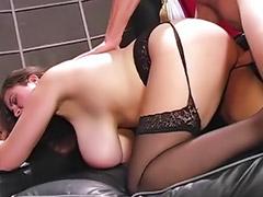 Pantyhose fuck, Titfuck, Real sex, Deni, Big tits facial, Anal facial