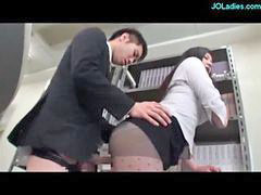 Cum in mouth, Ass to mouth, Blowjobs office, Office lady, Rubs cock, Cum in her ass