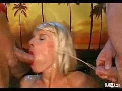 Big cock, Double, Girls blondes, Big blonde, Big cock blowjob, Girl on girl