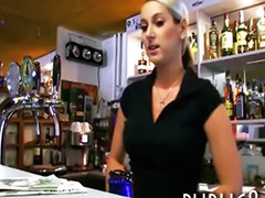 Cash, Barmaid, Public cash, Sex for cash, Public pov blowjob, Public pov
