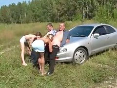 Foursome, On car, Russian outdoor, Foursomes, Foursome outdoor, Russians sex
