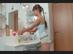 Russian, Girl, Bathroom, Cute