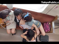 Threesome, Japanese, Asian, Japanese public