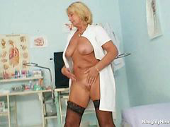 Big blonde, Blond milf, Big tit milf, Big natural tits, Uniform, Big naturals