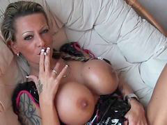Smoking, Cougar, Tattoed, Smoke, Smoking and play, Tattos