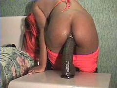 Huge dildo, Ebony teen, Teen