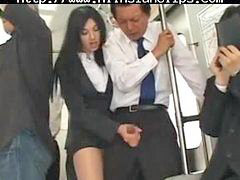Bus, Handjob, Asian, Cumshot, Asian handjob