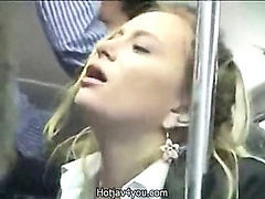 Bus, Public, Public orgasm, Lon to, Business woman, Bus blonde