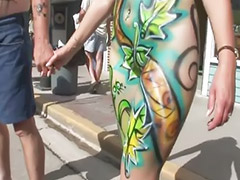 Public boob, Public boobs, Painting, Paint, Nice boobs, Body paint