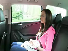Money, Taxi, Busty teen, Big cock blowjob, Sex money, Big tit teen