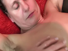 Mature masturbation, Hairy mature