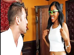 Throat fucked, Naughty america, Ebony blowjob, Glasses blowjob, Vagina fuck, Vagina ebony