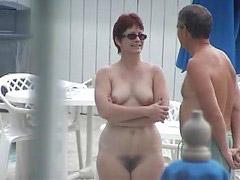Nude, Redhead, Pool