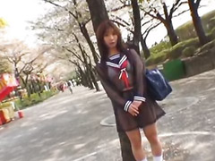 Japanes school girl, Jap school, Solo publiek, Japanse
