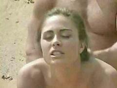 Laid, On beach, Beach brunette, Brunette beach, Beach