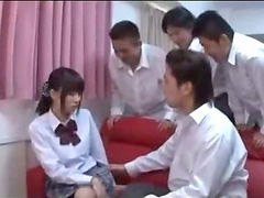 Schoolgirl gets fucked, Nipples sucked, Red couch, Raps, Rap e, Pussy suck