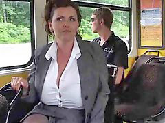 Mature, Big tits, Milk, Bus