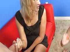 Mature masturbation, Handjob, Young, Milf
