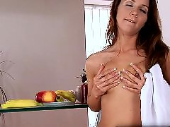 Teen gets cock, Teen with tits, With mouth, Stiff cock, Brunette mouth, Blowjob mouth