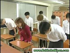 School, Gangbang, Bukkake, Japanese school, Real, Amateur