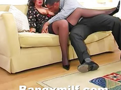 Stocking mature, Mature brunette, Mature stocking, Big tits mature, Withe big cock, Pounding big cock