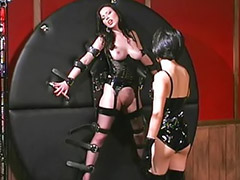 Femdom, Masturbation, Spanking, Tattoo, Latex, Asian lesbian