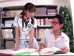 Riding, Schoolgirl, On air, In air, In library, Riding cock