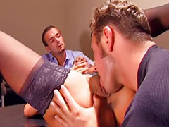 Small tits, Double anal, Threesome anal, Office threesome, Office anal, Italian
