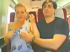 Big tits, Train, Groped