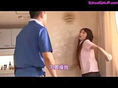 Schoolgirl, Schoolgirl gets fucked, Delivery guy, Delivery girl, Mouthful, Rap