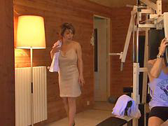 French, Milf, Sauna