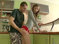 Anal, Teen, Teen anal, Anal teen, Couple, Kitchen