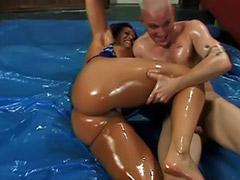 Femdom, Big ass fuck, Femdom asian, Big oil, Titfuck, Oil sex