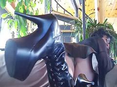 Boots, Leather, Big tits solo, Webcam brunette, Webcam tits, Fit girl