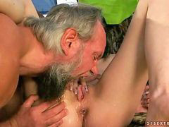 Teen, Grandpa, Piss, Pissing, Fucks two, Grandpa fucks