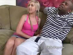 Teen, Black, Watching, Blonde teen, Black cock, Guy