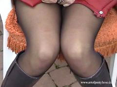 Flashing nipples, In nylons, Nylon, Nylons, Flashing