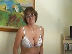 Strip, Mature masturbation, Glasses