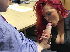 Busty, Redhead, Secretary, Boss, Slammed, A sec