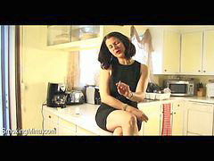 Counter, Poses, Posed, Smoking brunette, Brunette kitchen, Sit on